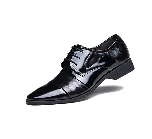 De Cuero Negro Hombre Marrón Zapatos Negocios Con Punta f4ZwzdnBqx