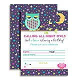 Night Owl Slumber Party Themed Party Celebration Fill In Invitations set of 10