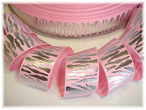 (Ribbon Art Craft Perfect Solution for Any Project Decoration 1 Yard 7/8 Pink Princess Silver Glitz Zebra Grosgrain Ribbon 4 HAIRBOW Bow)