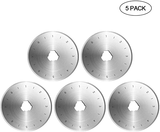 EUYOUZI 28mm Rotary Cutter Blades Set - Pack of 5, Carbon Steel SKS7 Rotary Replacement Blades with Scale - Sharp&Durable, Fits OLFA,Fiskars,Dremel,Truecut,DAFA Cutter Replacement (5 Pack D28mm): Amazon.es: Hogar