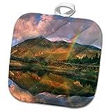3dRose Danita Delimont - Rainbows - Rainbow over Twin Lakes and Sawatch Range, Colorado, USA - 8x8 Potholder (phl_259141_1)