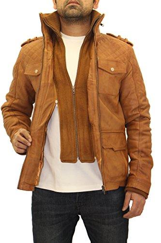 Matelassž Real Longue Bronzer Brown Manteau Amžnagže Ƒlžgant Cuir A To Blouson Leather Hommes Z Safari xzSBY