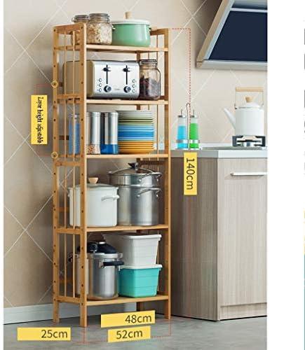 plank - keuken vloerstandaard meerlagige keuken opslag rack bamboe opslag rack pot schaal plank massief hout 52CM