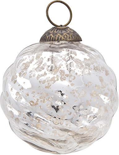 (Luna Bazaar Large Mercury Glass Ornament (Solene Design, Swirl Motif, 3-Inch, Silver) - Vintage-Style Decoration)