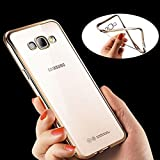 ApeCases Ultra Thin 0.3mm Clear Transparent Flexible Soft TPU Slim Back Case Cover For Samsung Galaxy J7 (New 2016 Edition - J710) - Transparent with Gold Edges