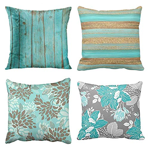 Emvency Set of 4 Throw Pillow Covers Turquoise Teal Green Pattern Wood Barn Weathered Beach Elegant Modern Decorative Pillow Cases Home Decor Square 20x20 Inches Pillowcases