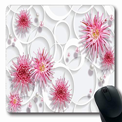 (Ahawoso Mousepads for Computers Flower Accent Romantic Abstract Pink Chrysanthemums Pearl Pearls Wall Bloom Design Pastel Oblong Shape 7.9 x 9.5 Inches Non-Slip Oblong Gaming Mouse Pad)