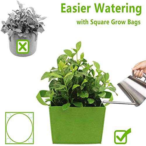 2Pcs Fabric Raised Garden Bed Heavy Duty Thickened 10 Gallon Square Garden Flower Grow Bag Vegetable Planting Bag Planter Pot with Handles(60x30x20cm)