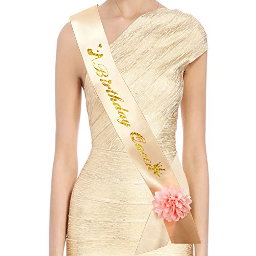 Birthday Queen Sash- Birthday Sash Champagne Gold with