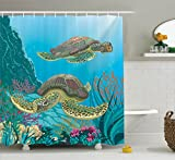 Sea Animals Decor Shower Curtain Set By Ambesonne, Illustration Of Two Sea Turtles Swimming Underwater Aquatic Colorful, Bathroom Accessories, 69W X 70L Inches