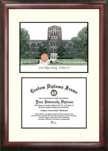 Michigan University Framed Lithograph - Central Michigan University Scholar Framed Lithograph with Diploma
