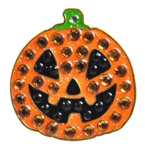 Crystal Golf Ball Marker & Hat/ Visor Clip - Jack-o-lantern (Pumpkin) - HALLOWEEN (Pumpkin Ball)