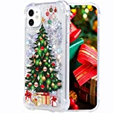 Flocute Glitter Case for iPhone 11 Glitter Christmas Case Bling Sparkle Floating Liquid Soft TPU Cushion Luxury Fashion Girly Women Cute Phone Case (Christmas Tree)