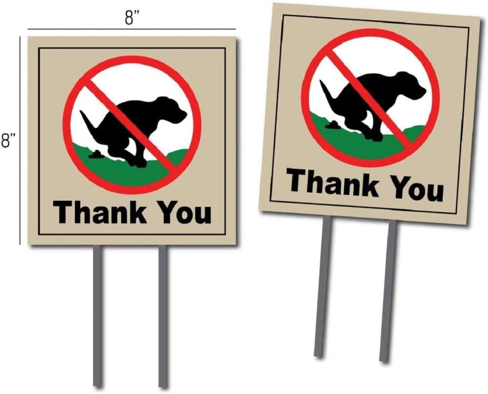 Oakley Graphics Dog Poop Yard Sign - Includes 2 Signs with Yard Stakes | Polite and Effective No Dog Poop Thank You Yard Signs Weather Proof Corrugated Plastic