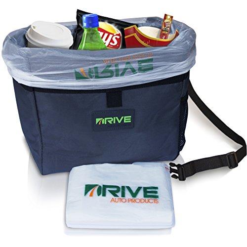DRIVE Auto Mülleimer - Bester Abfallbehälter / Tasche für Abfall im Auto, inkl. Müllbeuteln, Stoff Müll Behälter zum Aufhängen, universell, wasserdicht, alles organisiert, auch als Getränkekühler / Kühltasche geeignet, perfekt für lange Autoreisen