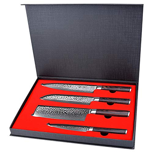 Kitchen Knife Set 4 Piece – Yarenh Chef knife Set – Damascus Stainless Steel – Pakka Wood Handle – Gift Box Packaging – Professional Vegetable knife HXZ-Series