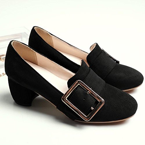 COOLCEPT Mujer Moda Hebilla Acento Irlandes Bombas Zapatos Tacon Medio Ancho Boca Baja Zapatos Pequeno Tamano Negro