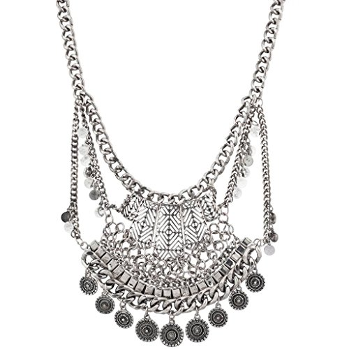 Lux Accessories Tribal Western Boho Burnish Silver Coin Statement Necklace