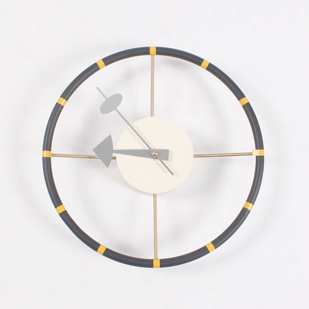 ファッション創造的なミュート掛け時計リビングルームの寝室国際的なラウンドクロックと家庭装飾のステアリングホイール時計 B07CSMJSMF
