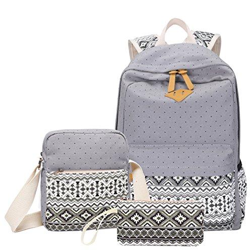 MingTai 3PCS Schulrucksack Canvas Rucksack Schulrucksäcke Damen Kinderrucksack Mädchen Schultaschen Rucksäcke Schultasche Teenager Kuriertaschen Handtasche Brieftasche Grau