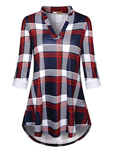Luranee Classy Tops for Women, Ladies Buffalo Plaid Shirts Long Sleeve Boutique Clothing Henley Neck Flowy Tunics to Wear with Leggings Sophisticated Chic Petite Career Dress Blouses Burgundy -