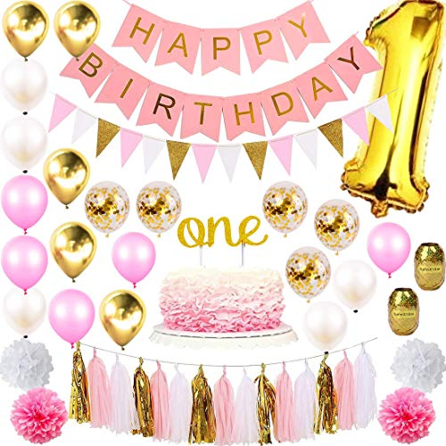 1st Birthday Girl Decorations Mega Party Supplies Set | Princess First Pink n Gold Girls Theme Kit | 1 Year Hat, Happy Birthday Banner, Cake Topper, Number Mylar Balloon, Latex Balloons, Paper Decor
