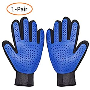 ANSLYQA Pet Deshedding Brush Glove Pet Grooming Glove Hair Remover Mitt Enhanced Five Finger Design Perfect for Cats,Dogs and Horses with Long & Short Fur,1-Pair 38