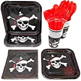 Pirate Party Supplies Pack (113+ Pieces for 16 Guests!), Pirate Birthday Kit, Pirate Plates, Tableware