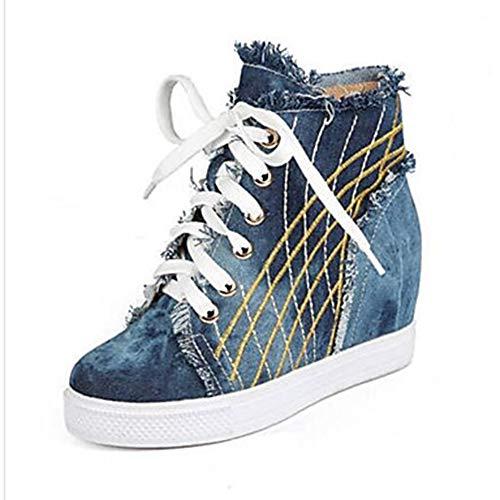 Sneakers CN38 Per Punta 5 UK5 Primavera Blu TTSHOES Denim US7 Estate Scarpe EU38 Chiusa 5 Piatto Comoda Donna Blue pwCSFq
