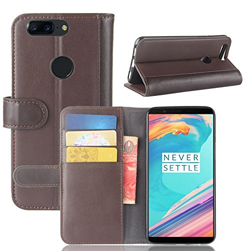 OnePlus 5T Case,Mangix Genuine Leather Wallet Card Slots Series Secure Magnetic Closure Stand Feature Luxury Flip Case for for OnePlus 5T (Brown) Kalaideng Leather