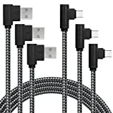 90 Degree Type C Cable, 3-Pack(6FT) USB C to USB A Fast Charger Nylon Braided Sync Cord for Samsung Galaxy S9 S8 Note 8, LG V20 G5, Google Pixel, Moto Z, MacBook (Black Gray, 6ft)
