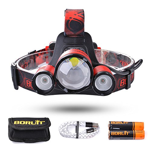 BORUiT Leo 21 Zoomable LED Headlamp, 4 Modes Headlight, 5000 lumen, As 4400mAh Power Bank, for Running, Camping, Hiking, 2 PCS 18650 Batteries and Cable Included (Red)