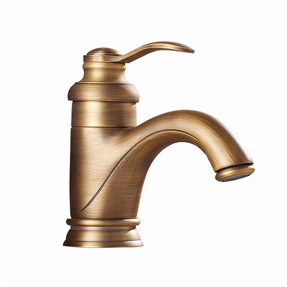 YAWEDA Full Copper Antique Basin Faucet Hot and Cold Water Mixer Low Teapot Faucet Bathroom Sink Faucet Double-Joint with Aerator