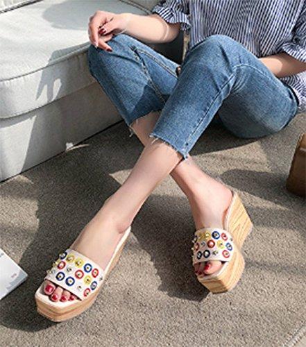 Abricot 8.5cm 7 US 37.5 EU 4.5 UK SCLOTHS Tongs Femme Chaussures à Fond épais d'été IMPERMéABLE Pente Piscine Plage antidérapant