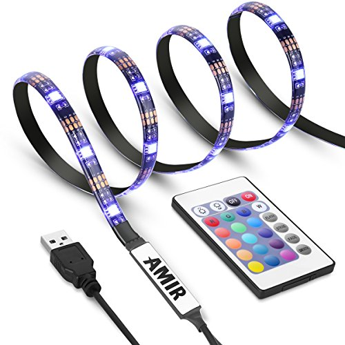 AMIR TV LED Light Strip, 30 LED TV Backlight Strip USB Bias Monitor Lighting Changing Color Strip Kit Accent light Set Waterproof Bias Lighting For TV Desktop PC (Wireless remote controller)