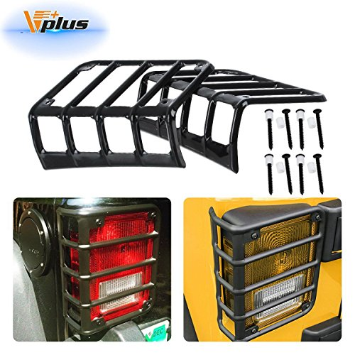 Vplus Five Bar Euro Tail Light Guard Cover Rear Protector Black Compatible with Jeep Wrangler 2007-2018 (Pair)