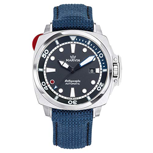 Marvin Swiss Made Men's Automatic Sapphire Pro Dive Watch 200m Black Dial with Blue Nylon Band
