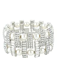 Ever Faith Silver-Tone Cream Simulated Pearl Austrian Crystal Bridal Layer Stretch Bracelet Clear N04473-1