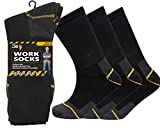 12 Pairs Mens Heavy Duty Work Socks Shoe Size 6-11 Safety/Steel Toe Boot Socks (Black)(Size: 43627)