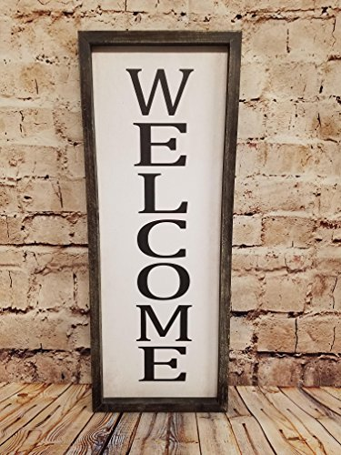 HDW Farmhouse Wall Sign Framed Artwork Decor (Welcome-Vertical)