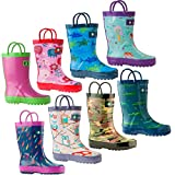Oakiwear Kids Rubber Rain Boots With Easy-On Handles   Butterflies, Outer Space, Army Camo, White, Pink & Green Stripes