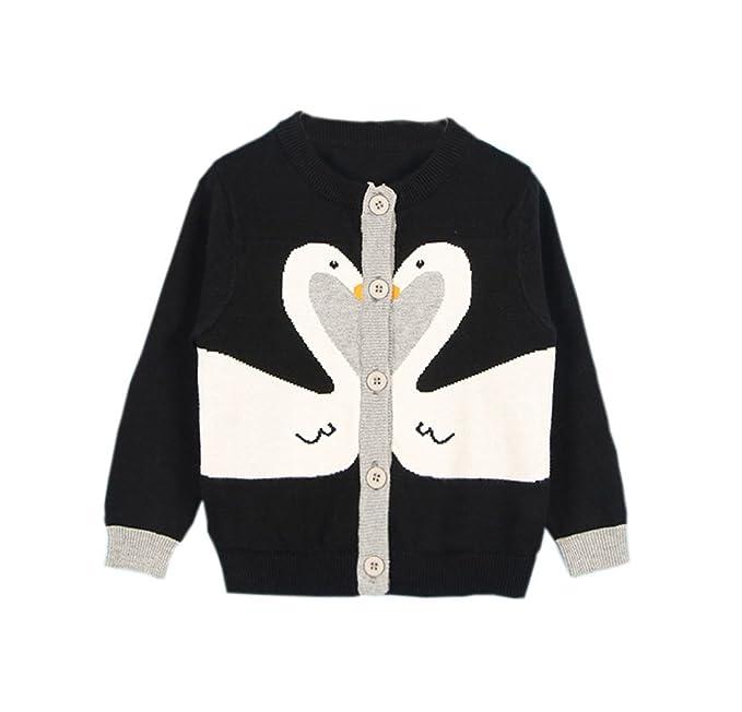 7c70993fc98e TAIYCYXGAN Baby Little Girls Cute Swan Button-Down Fine Knit ...