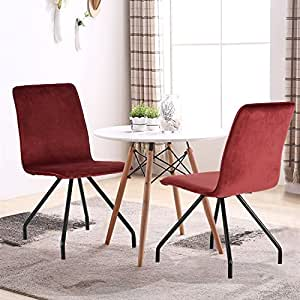 GreenForest Velvet Dining Chairs Wood Transfer Metal Legs Dining Room Chairs Set of 2, BORDEAUX