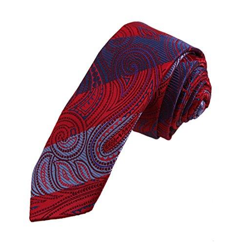 DAE7B30D Red Blue Patterned Microfiber Skinny Tie Friendship Designer Narrow Tie By Dan Smith