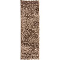 Unique Loom Floral Shag Collection Brown 2 x 7 Runner Area Rug (2 x 6 7)