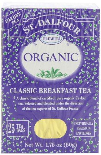 ST. Dalfour thé biologique, sachets de thé, petit-déjeuner classique, Sacs de 1,75 once, Boîtes 25-Count (pack de 6)
