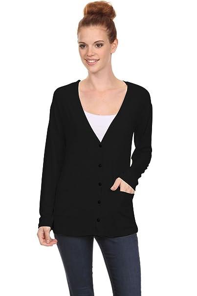 3efc22f560 2LUV Women s V-Neck Boyfriend Style Button Down Cardigan black S (S8259)