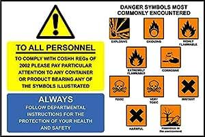 Señales de advertencia–símbolos COSHH a todo el personal señal de seguridad–3mm aluminio 300mm x 200mm