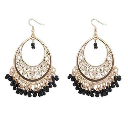 Paymenow Women Girls Bohemian Hollow Out Beads Tassel Hook Dangle Vintage Ethnic Circle Long Earrings (Black) - Topaz Circle Pendant