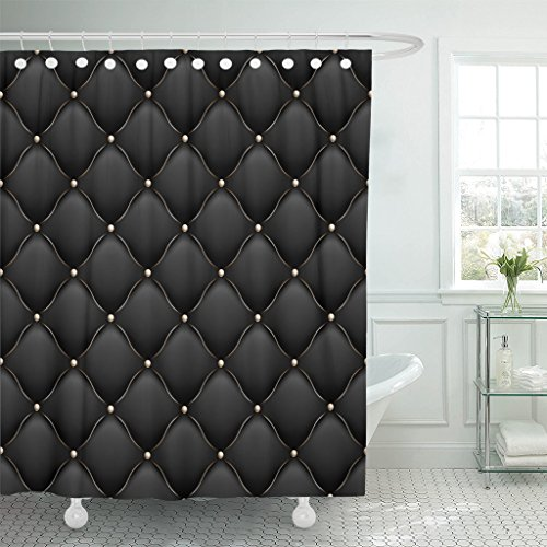 Emvency Shower Curtain Black VIP Upholstery Gloss Quilted Pattern True Luxury with Gold Thread and Also Includes 10 Abstract Waterproof Polyester Fabric 72 x 72 inches Set with Hooks (Black Leather Curtains)